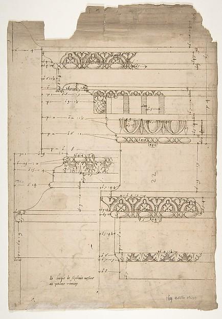 Arch of Septimius Severus, entablature, elevation; attic, base, elevation (recto) Arch of Septimius Severus, archivolt, elevation; impost, elevation; entablature, elevation; column base, elevation; column, plan (verso)
