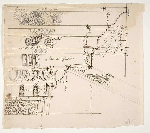 [Arch of Constantine], cornice, elevation in profile, ornamental detailing (recto) blank (verso)