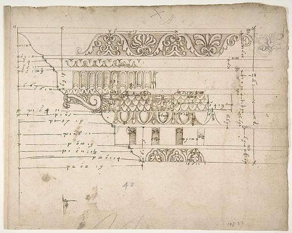 Arch of Camigliano, cornice, elevation in profile, ornamental detailing (recto) Unidentified, Doric capital; Arch of Camigliano, cornice, profile, sketch (verso)