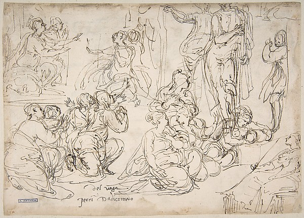 Kneeling, Seated and Standing Figures (recto); Seated, Kneeling and Reclining Figures (verso)
