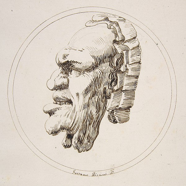 Fascinating Historical Picture of Gaetano Piccini with Human Mask Looking to the Left within a Circle in 1727
