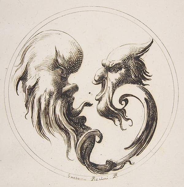 Two Grotesque Heads Facing One Another within a Circle