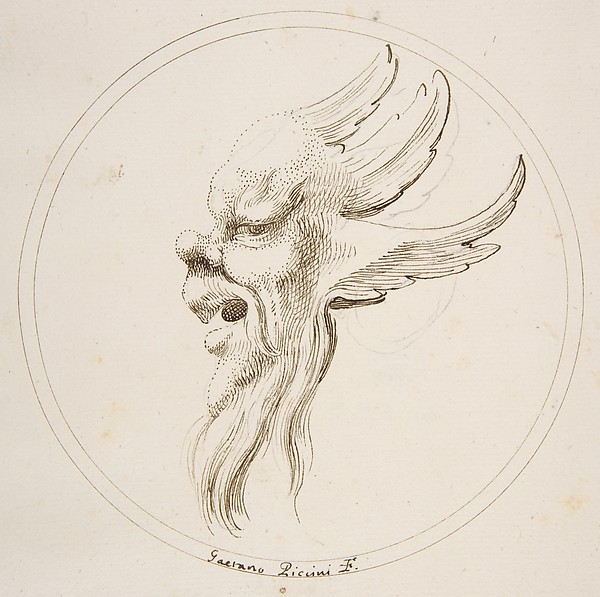Fascinating Historical Picture of Gaetano Piccini with Grotesque Winged and Bearded Head Looking to the Left within a Circle in 1727