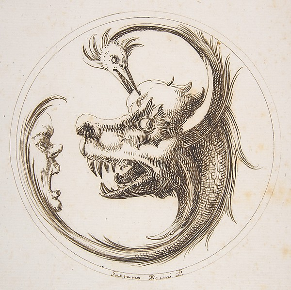 Fascinating Historical Picture of Gaetano Piccini with Two Beasts and a Human Mask within a Circle in 1727