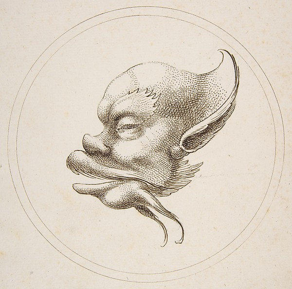 This is What Gaetano Piccini and Grotesque Head With a Large Eyebrow Looking to the Left Within a Circle Looked Like  in 1727