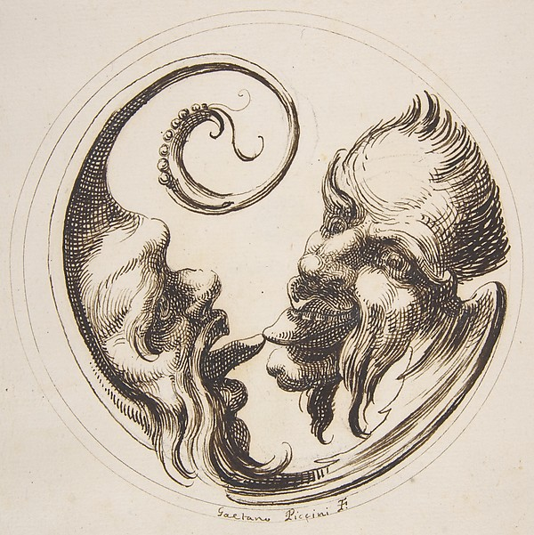Fascinating Historical Picture of Gaetano Piccini with Two Grotesque Heads Facing One Another and Touching Tongues Within a Circle in 1727