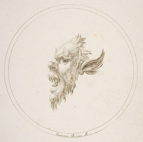 Fascinating Historical Picture of Gaetano Piccini with Small Grotesque Head Looking to the Left Within a Circle in 1727