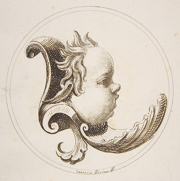 Putto's Head Looking to the Right with a Shell Beneath the Chin within a Circle