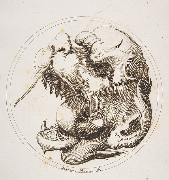 Fascinating Historical Picture of Gaetano Piccini with Large Grotesque Head With an Open Mouth Looking to the Left Within a Frame in 1727