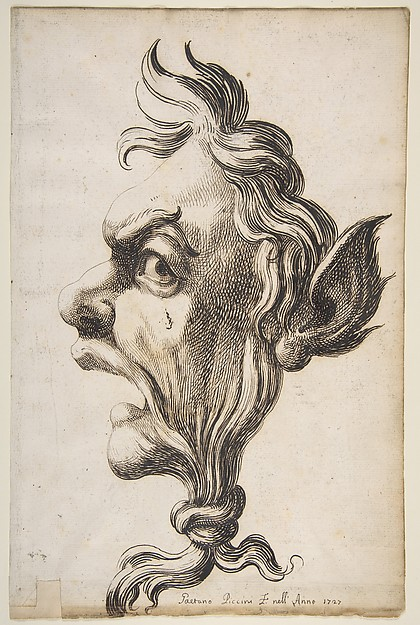 Fascinating Historical Picture of Gaetano Piccini with Large Grotesque Head Being Strangled by its Own Hair in 1727