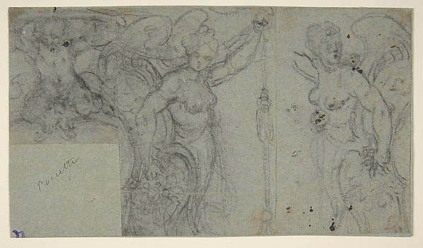 Design with Two Winged Female Figures and a Putto