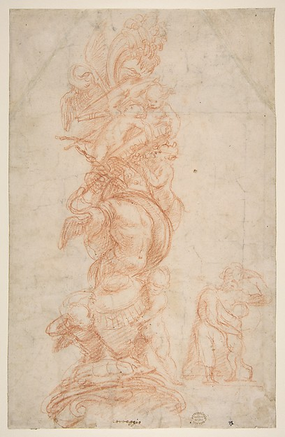 Design for the Decoration of a Pilaster (recto); Putti with Trophies and Seated Figure with Child (verso)