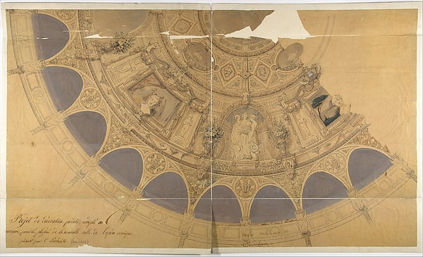 Design for the decoration of the ceiling in the Opéra Comique, Paris