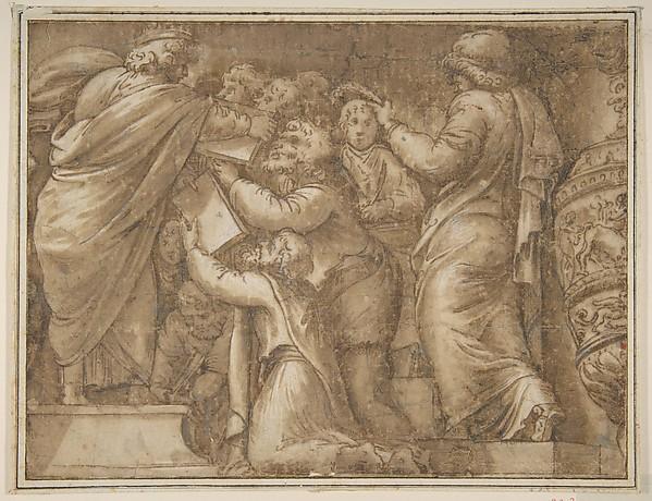 Fascinating Historical Picture of Polidoro da Caravaggio with Historical Scene in 1499