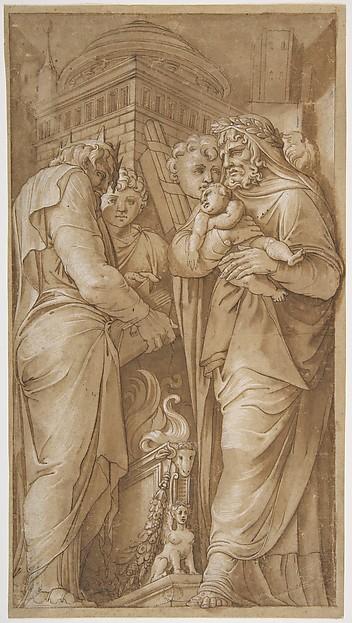 Fascinating Historical Picture of Polidoro da Caravaggio with Roman Scene in 1499