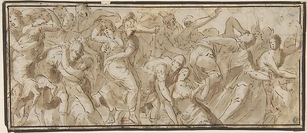 Fascinating Historical Picture of Polidoro da Caravaggio with Rape of the Sabines in 1499