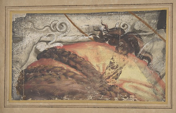 Tapestry Cartoon Fragment: The Top of Woman's Head with Hair Braided over a Cloth Headdress