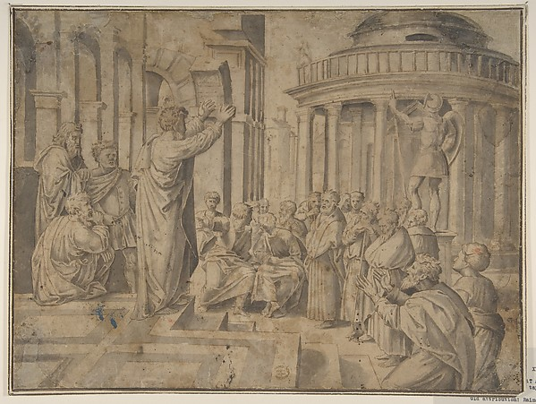 Fascinating Historical Picture of Raphael with St. Paul preaching at Athens (Copy of Raphaels tapestry reversed) in 1650