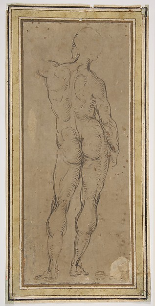 Fascinating Historical Picture of Raphael with Male Figure Seen from Rear After a Drawing by Michelangelo in 1508