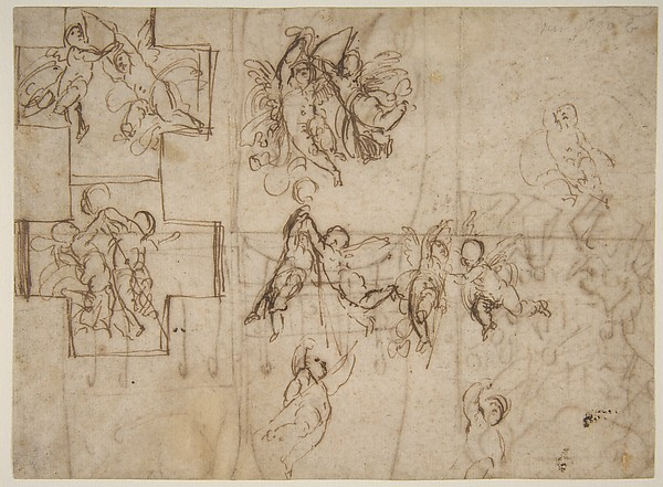 Studies of Flying Putti (recto); Composition Studies (verso)