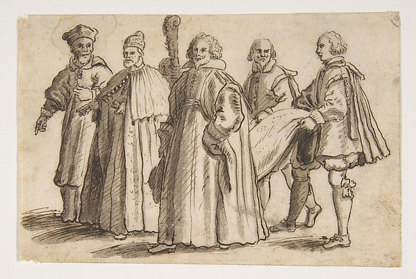 Fascinating Historical Picture of Bernardino Rodriguez with A Doge of Venice with a Cardinal a Councillor and Servants Bearing the Train in 1600