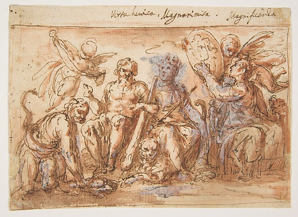 Allegorical Figures: Force, Hercules Strangling the Hydra, Plenty, and Fame