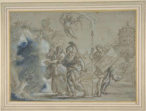 Fascinating Historical Picture of Giovanni Francesco Romanelli with Aeneas and the Cumaean Sibyl Entering the Infernal Regions in 1610