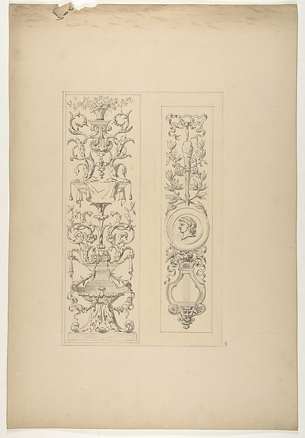 Two designs for decorative panels in rococco style