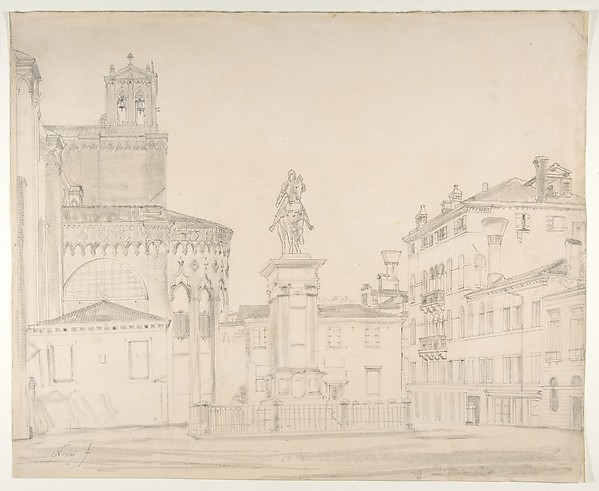 View of the South side of the church of Santi Giovanni e Paolo in Venice, with Verocchio's statue of Bartolomeo Colleoni