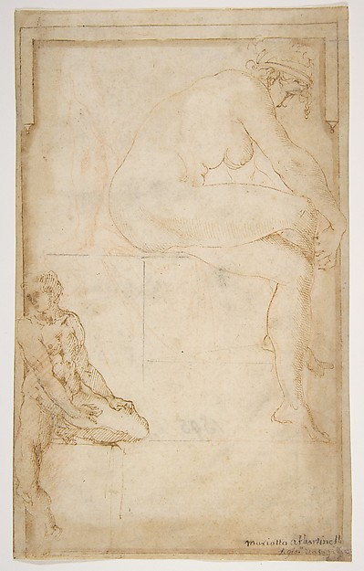 Two Figures in an Architectural Setting: A Female Nude Seated in a Profile View and  a Seated Male Nude in a Three-Quarter View with the Left Leg Bent