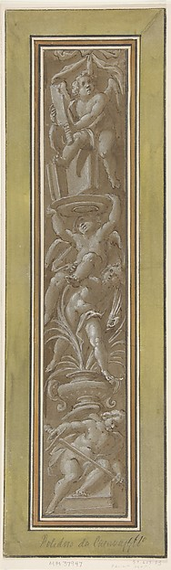 Two Pilaster with White Putti on Tan Ground