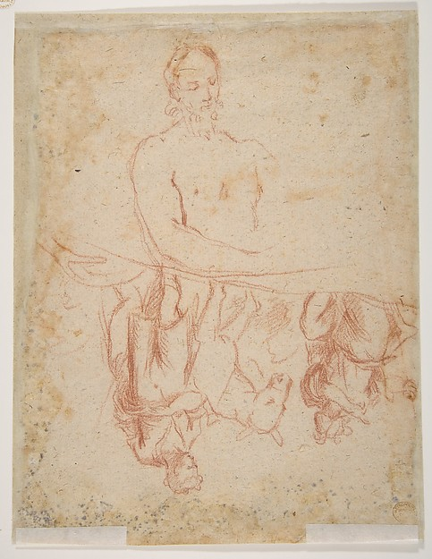 Study for a Raising of Lazarus (recto); half length study of bearded nude male figure, and a man and woman with donkey (verso)