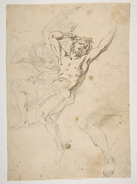 Study for a Prometheus Bound (recto); slight sketch of head and shoulders of man in lead pencil (verso)