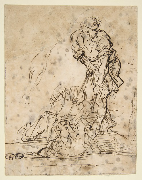 Fascinating Historical Picture of Salvator Rosa with Studies for a Figure Lifted from a Grave or Pit by Cords.  V e r s o| Further Study of the Same Figu in 1615