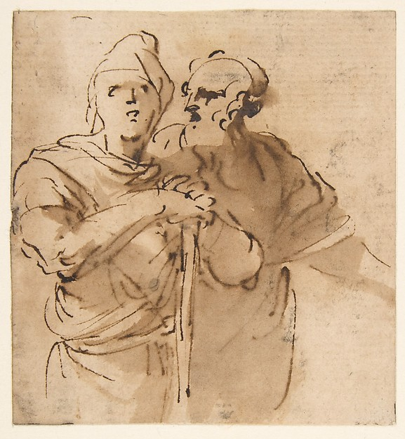 Fascinating Historical Picture of Salvator Rosa with Two Men Seen Three- Quarter Length in 1615