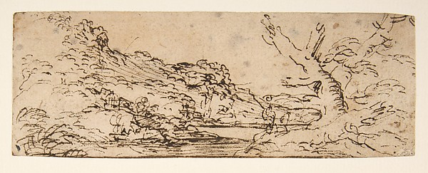 Fascinating Historical Picture of Salvator Rosa with Landscape with hills and a lake trees in right foreground. in 1615
