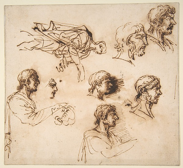 Studies of a Man's Head in Profile, and of a Standing Male Figure