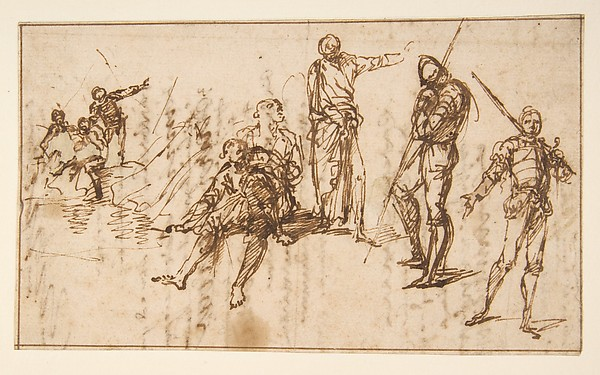 Fascinating Historical Picture of Salvator Rosa with Two Standing Soldiers and Six other Figures in 1615