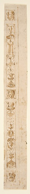 Design for a Pilaster with Two Candelabra Grotesques and Three Masks