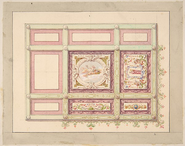 Design for a ceiling with allegorical panels