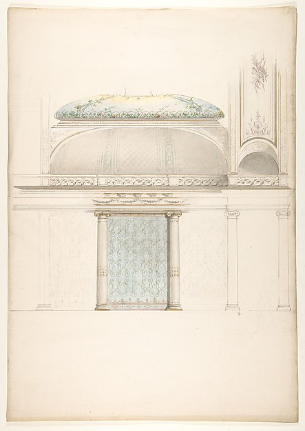 Elevation and transverse section of a domed and colonnaded hall