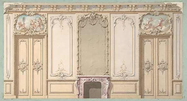 jules edmond charles lachaise elevation of a salon decorated in louis xv style the. Black Bedroom Furniture Sets. Home Design Ideas