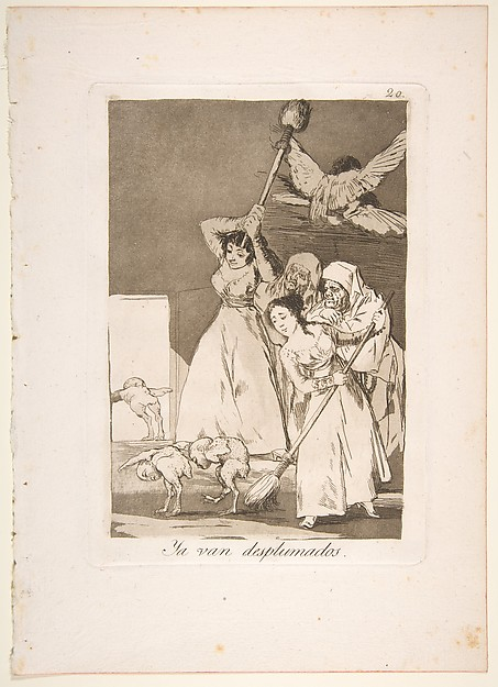 Plate 20 from 'Los Caprichos': There they go plucked (i.e. fleeced) (Ya van desplumados.)