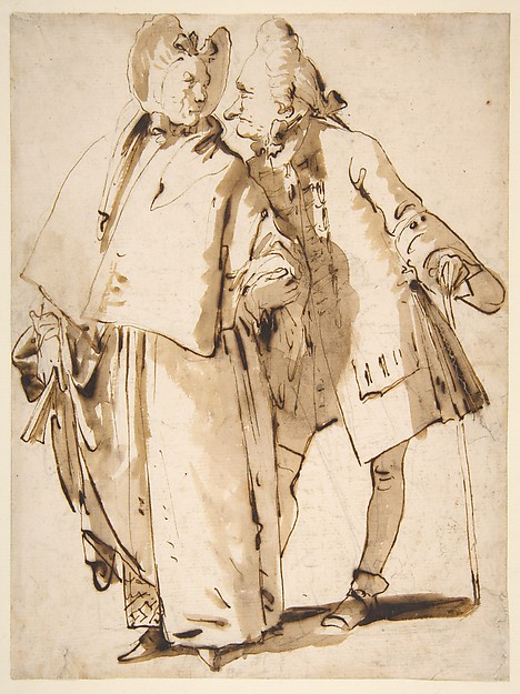 Caricature: An Elderly Couple