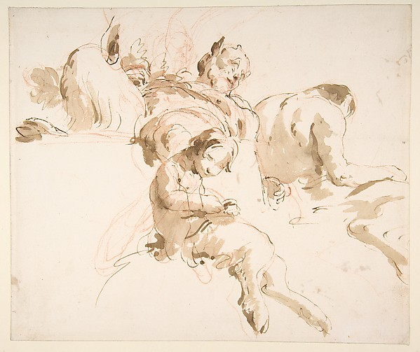 Two Seated Satyrs and a Child Satyr