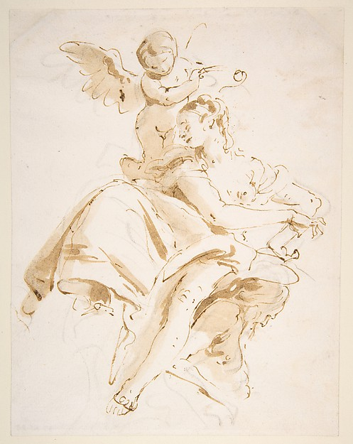Winged Putto Crowning a Seated Woman Who Looks to the Left