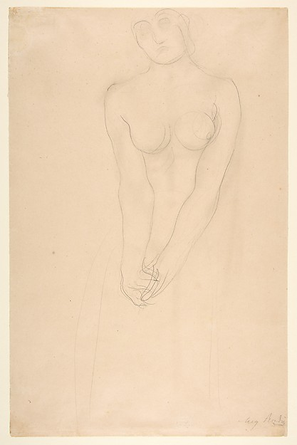Nude female figure standing with clasped hands