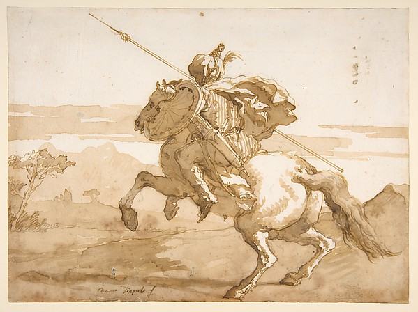 Fascinating Historical Picture of Giovanni Domenico Tiepolo with An Oriental Horseman in 1727