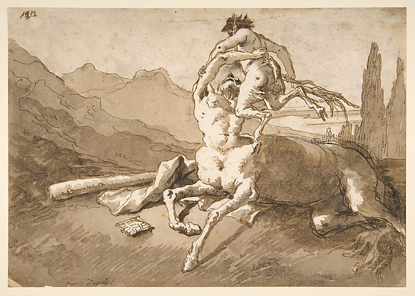 Fascinating Historical Picture of Giovanni Domenico Tiepolo with Centaur Holding Up a Youthful Satyr in 1727
