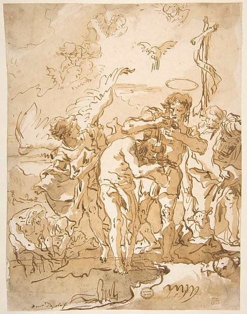 Fascinating Historical Picture of Giovanni Domenico Tiepolo with The Baptism of Christ in 1727